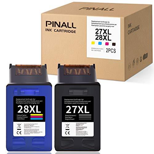 PINALL 27 28 27XL 28XL Cartuchos de impresora compatibles HP 27 HP 28 HP27 HP28 para HP 3320 3420 3550 3620 3650 3740 3745 HP 5610 4315 6110 4215 Pro 3610 HP 1215 1210 1310 1315 1217 (negro, color).
