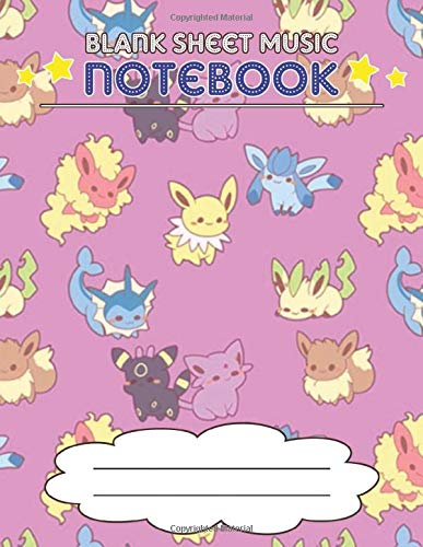 Blank Sheet Music Notebook: Wide Staff Manuscript Paper Notebook, 8 Large Staves Per Page (Pokemon Style)