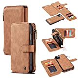 GFU 2019 Detachable iPhone 11 Pro Wallet Case Best Thin Card Holder Leather Magnetic Slim Flip Strap Stand 2-in-1 Durable Purse Wallet Case for iPhone 11 Pro 5.8 Inch Zipper for Women for Men (Brown)