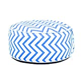 QILLOWAY Indoor/Outdoor Inflatable Stool,Round Ottoman,Foot Rest for Kids or Adults, Camping or Home (Stripe Navy & White)