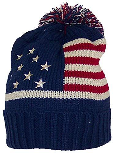 Best Winter Hats Adult American/Americana Flag Cuffed Knit Beanie W/Pom Pom (One Size) - Navy Massachusetts