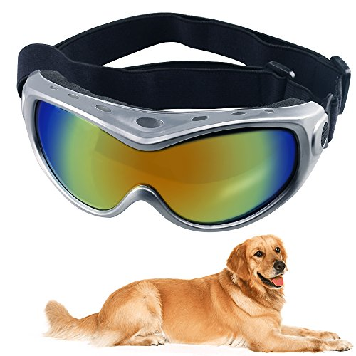 HelloPet Dog Goggles Dog Sunglasses Glasses for Dogs Dog Ski Goggles with UV Protection Pet Sunglasses with Adjustable Strap for Travel, Skiing and Anti-Fog(Silver)
