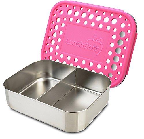 LunchBots Duo Edelstahl Nahrungsmittelbehälter – Zwei Abschnitt Design perfekt für eine Sandwich Hälfte und Einer Beilage – Umweltfreundlich, Spülmaschinenfest und BPA frei – Rosa Gepunktet