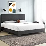Einfach King Size Platform Bed Frame with Adjustable Headboard,Upholstered Mattress Foundation with Wood Slats, No Box Spring Needed, Dark Grey