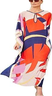 Lazzon Copricostume Mare Donna Vestito Lungo Estate Kimono Abito da Spiaggia Taglie Forti Kaftan Costume da Bagno Cover Up