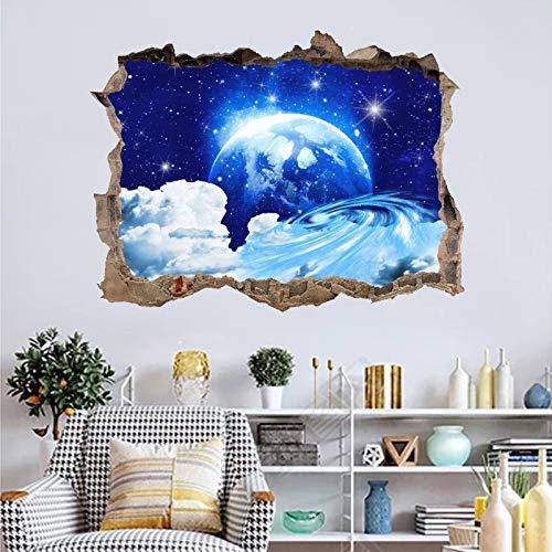 3D Star Universe Series Etiqueta de la pared rota Cielo estrellado azul Nubes Dormitorio de los niños Sala de estar Decoración Espacio Galaxy Planetas Calcomanía de PVC arte mural póster