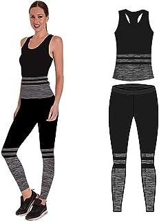 FM London Crop Top And Leggings Set Abbigliamento Sportivo Donna