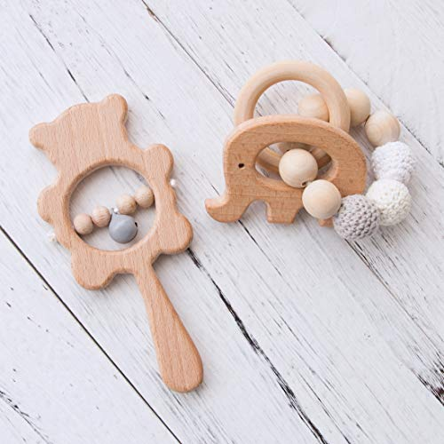 Promise Babe 2pc Montessori Estilo Infantil de Madera Natural Bebé Sonajero Mordedor Anillo Lindo Elefante Pulsera Juguetes Hechos a Mano