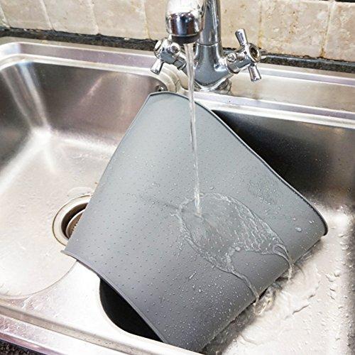 Earthbay Silikon Futtermatten, 60x40CM Tiernahrung Matte Platzdeckchen Wasserdicht rutschfest für Hund Katze (Grau) - 6