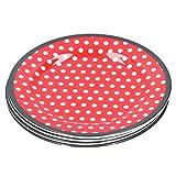 4 unids/set 9 pulgadas plato de porcelana de imitación cena plato de fruta postre platos para tartas bandeja de repostería vajilla roja