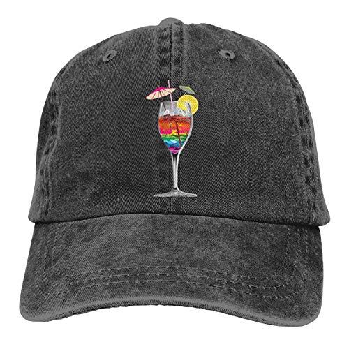 SVDziAeo Kappe Cocktail Garnierung Weinglas Clipart Sommerferien Thema Aaaafa Unisex hochwertige Cowboyhut verstellbare Rückseite Knopf Hut