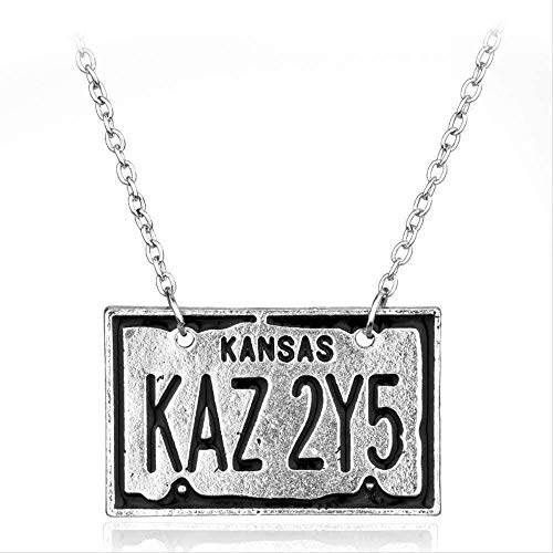 BEISUOSIBYW Co.,Ltd Collar Regalos Moda Collar con Placa de matrícula de Coche Collar con Colgante de Kansas para alas de Amante Wicca Angel Jewelry