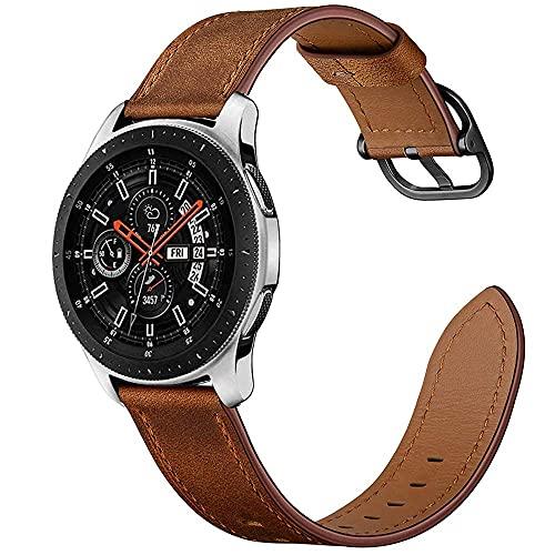 ANYE Compatibile per Cinturino Huawei Watch GT 2 46mm,Cinturino Orologio Samsung Galaxy Watch 46mm in Vera Pelle Cinturino di Ricambio Cinturino Bracciale Samsung Gear S3/Amazfit GTR 47mm