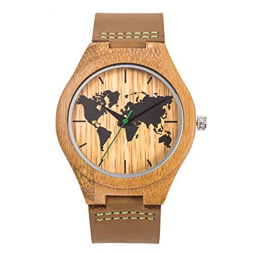 Montre en Bois de Bambou Sentai Vintage Montre Bracelet à Quartz pour Hommes Montre en Bois Naturel Fait à la Main Cadran de la Carte du Monde et Ceinture en Cuir de qualité Marron