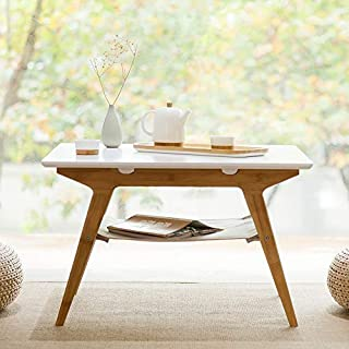 ZEN'S BAMBOO Square Coffee Table Double Layer Living Room Table with Storage Home Furniture