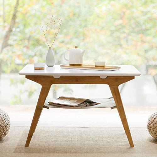 ZEN'S Bamboo Square Coffee Table Double Layer White Top Table with Storage Living Room Furniture