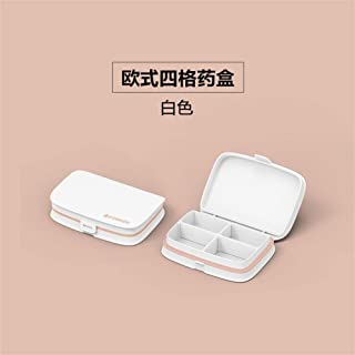 YRLHMYYH Medicine box Nordic food grade forty-six kit removable storage box grid portable small kit drugs (Color : 4 lattice White)