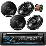 Pioneer Car Bluetooth Radio USB AUX CD Player Stereo AM/FM Radio Receiver - Bundle Combo with 4X Pioneer 6.5' 300W 2-Way Black Car Coaxial Audio Speakers + Enrock 50 Ft 16 Gauge Speaker Wire