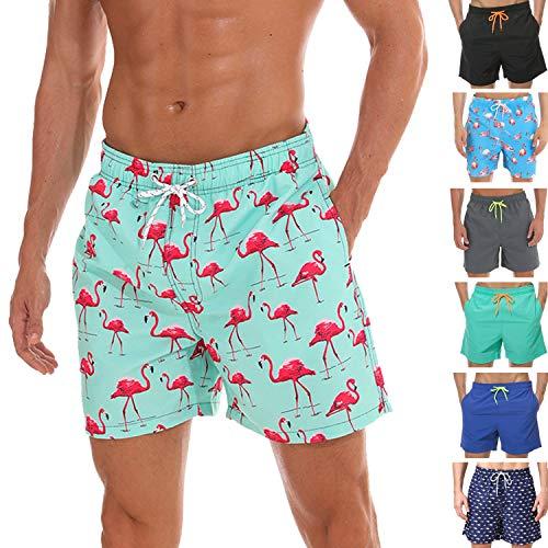 anqier Badeshorts für Männer Badehose für Herren Jungen Schnelltrocknend Schwimmhose Strand Shorts,Rosa,M(EU)-MarkeGröße:L-Taille 80-90cm