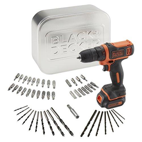 BLACK+DECKER BDCDD12AT-QW - Taladro atornillador 10.8V con batería litio 1.5Ah, 50 accesorios y caja metálica