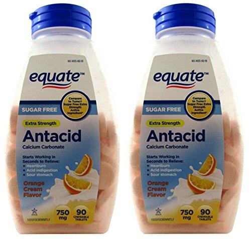 Equate Antacid Orange Cream Flavor, Sugar-Free 180 Chewable Tablets, 750 Milligram, 2 Bottles Of 90 Tablets