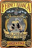 Vvision Fernet-Branca Argentina El Pueblo Quiere Fernet Cartel de Chapa Metal Advertencia Placa de Chapa de Hierro Retro Cartel Vintage para Dormitorio Pared Familiar Aluminio Arte Decoración