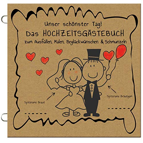 Paul´s Papierfabrik 25x Das lustige Hochzeitsgästebuch zum Ausfüllen, Malen, Beglückwünschen, Hochzeit Gästebuch Alternative mit Fragen, Gastgeschenk, Hochzeitsspiel