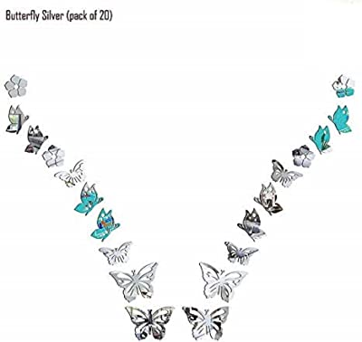 SPIRITED Butterfly 3D Mirror Acrylic Wall Stickers Home Office and Latest Decoration-(Silver-Pack of 20)