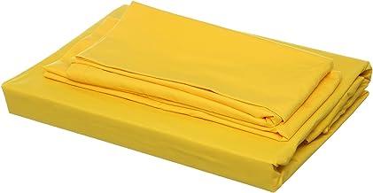 طقم ملاية سادة و2 كيس خددية وكيس مخدة من المأمون - اصفر