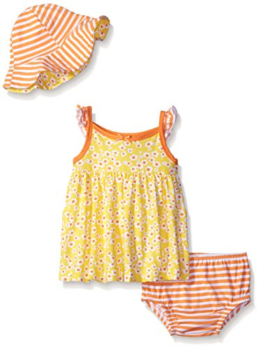 Gerber Baby Three-Piece Sundress, Diaper Cover and Hat Set, Tiny Floral, 12 Months