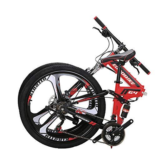 "OBK G4 26"" Full Suspension Folding Mountain Bike 21 Speed Bicycle Men or Women MTB Foldable Frame (Red)"