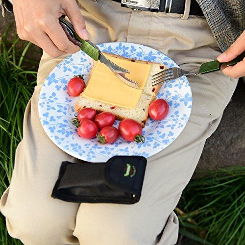 OUTDOOR FREAKZ Outdoor Campingbesteck Klapp-Besteck aus Edelstahl mit Gürteltasche, das Original! (grün +) - 5