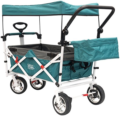 Creative Outdoor Push Pull Collapsible Folding Wagon Stroller Cart for Kids | Beach Park Garden & Tailgate | Teal