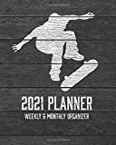 2021 Planner Weekly and Monthly Organizer: Skateboarding - 53 Week 12 Month with Inspirational Quotes - Jan 1st 2021 to Dec 30th 2021 (Vintage Dark Wood Sports)