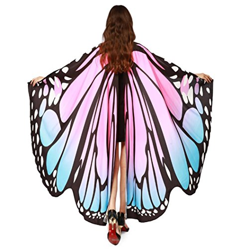 Farfalla Costume Donna Ali Scialle Sciarpe Ladies Nymph Pixie Poncho Accessorio per Il Costume Donna Angelo con bastoni Ali di Farfalla (Rosa)