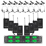UHF Wireless Microphone System 8 Channel 8 Lavalier Bodypacks 8 Lapel Mic 8 Headsets for Karaoke System Church Speaking Conference Wedding Party 3 Year Warranty