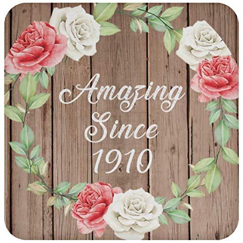 111th Birthday Amazing Since 1910 - Drink Coaster B Untersetzer Rutschfest Rückseite aus Kork - Geschenk zum Geburtstag Jahrestag Muttertag Vatertag Ostern