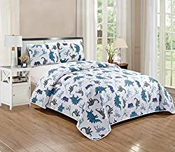 5. Kids Zone Dino Kingdom Quilted Twin Bedspread Set