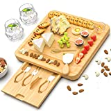 Bamboo Cheese Cutting Board - Charcuterie Board Set with Cutlery - Wood Cheese Board and Knife Serving Tray for Birthday Housewarming Wedding Gifts