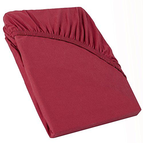 CelinaTex Perla boxspringbed waterbed topper hoeslaken 90x200-100x200 cm bordeaux rood katoen bedlaken spanbeddoek 0004212