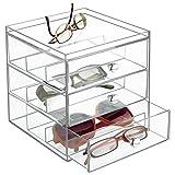 mDesign Scatola porta occhiali con 3 cassetti – Espositore per occhiali in plastica – Portaocchiali perfetto anche come porta gioie o porta cosmetici – Per occhiali da sole o da vista – trasparente