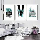 Aquarell Vogue High Heels Blume Salon Wandkunst Leinwand