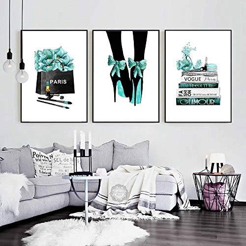 Aquarell Vogue High Heels Blume Salon Wandkunst Leinwand Malerei Nordic Poster Und Drucke Wandbilder Für Wohnzimmer Dekor KEIN Rahmen 40 * 60 cm * 3