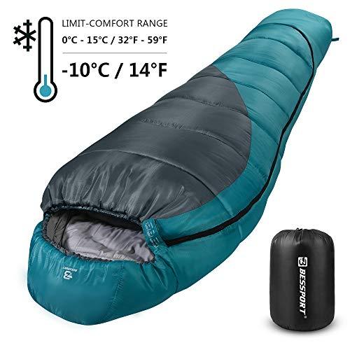 Bessport Schlafsack Winter | 3-4 Saison | Outdoor Mumienschlafsack für Camping und Bergsteigen mit Ultraleichter und Ultrakompakter 100% Sprüh Gebundene Baumwolle (Blue & Grey)