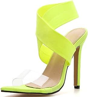Women's Fashion Open Toe Elastic Fluorescent Shoes Jelly Cross Strap Stilettos High Heel Sandals (Fluorescent Yellow, 6.5 M US)