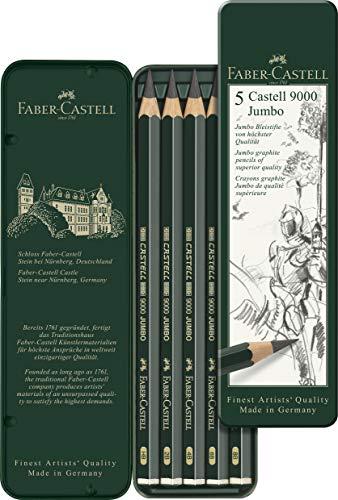 ファーバーカステル カステル9000番鉛筆 ジャンボ鉛筆 5硬度セット 119305 [日本正規品] 黒