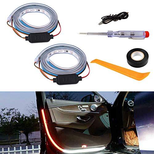 2 PCS Car Door LED Strip Light for Warning Anti Rear-end Collision 47.2 in 144 LEDs Interior Car Door Lights