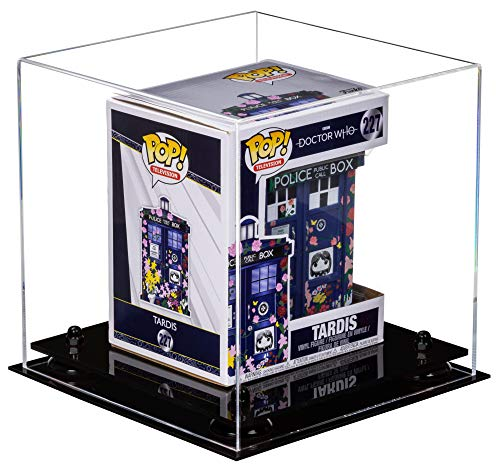 """Better Display Cases Versatile Clear Acrylic Display Case - Medium Square Box with Black Risers 10"""" x 10"""" x 10"""" (A028-BR)"""