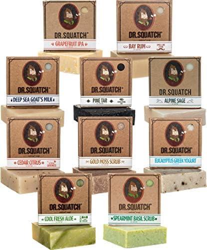 Dr Squatch Men s Soap Gift Set 10 Bars Pine Tar Cedar Citrus Bay Rum Spearmint Basil Grapefruit product image