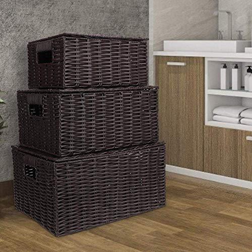 Juego de 3 cestas de almacenamiento con tapa y estante, caja de almacenamiento, cajas decorativas, de mimbre vintage